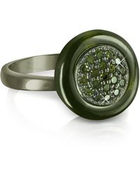 Azhar - Olive Green Cubic Zirconia And Sterling Silver Ring - Lyst