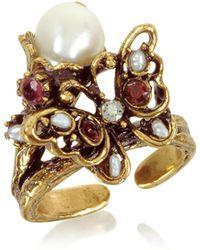 Alcozer & J - Butterfly Brass Ring W/glass Pearl - Lyst