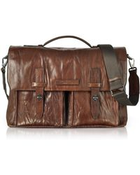 The Bridge - Washed Calf Leather Briefcase W/shoulder Strap - Lyst