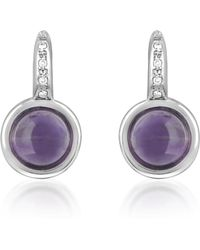 Mia & Beverly - Amethyst And Diamond 18k White Gold Earrings - Lyst