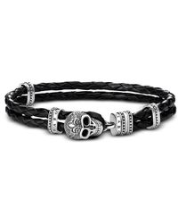Thomas Sabo - Blackened 925 Sterling Silver And Leather Skull With Lily Double Bracelet - Lyst