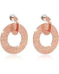 Rebecca - R-zero Rose Gold Over Bronze Drop Hoop Earrings - Lyst