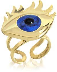 Bernard Delettrez - Blue Enamel Eye Bronze Ring - Lyst