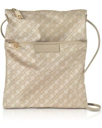 Gherardini - Clay Signature Fabric And Leather Softy Crossbody Bag W/zip Front Pocket - Lyst