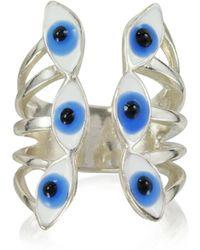 Bernard Delettrez - Sterling Silver Ring W/6 Blue Eyes - Lyst