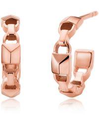 Michael Kors - Mercer Link 14k Rose Gold Plated Mini Hoops - Lyst