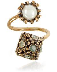 Alcozer & J - Pyramid And Pearl Ring W/gemstones - Lyst