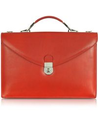 L.A.P.A. - Ruby Red Double Gusset Leather Briefcase - Lyst