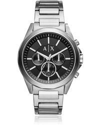 Armani Exchange - Drexler Black Dial And Silver Tone Men's Chronograph Watch - Lyst