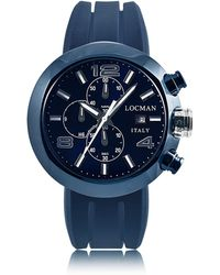 LOCMAN - Tondo Blue Pvd Stainless Steel Chronograph Men's Watch W/leather And Silicone Band Set - Lyst