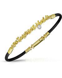 Orlando Orlandini - Central Diamond 18k Gold And Rubber Bracelet - Lyst