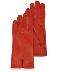 FORZIERI - Women's Stitched Cashmere Lined Red Italian Leather Gloves - Lyst
