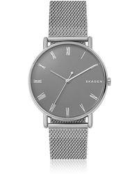 Skagen - Signatur Grey Dial And Steel Mesh Men's Watch - Lyst