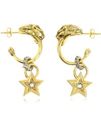 Roberto Cavalli - Circus Golden Metal Earrings W/crystals - Lyst