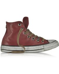 Converse - Chuck Taylor All Star High Vintage Red Leather Ltd Unisex Trainers - Lyst