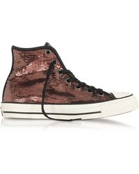 Converse | Chuck Taylor All Star High Distressed Ox Copper & Black Sequins Sneakers | Lyst