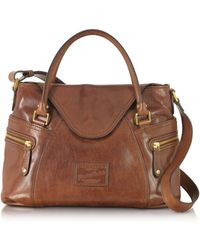 The Bridge - Icons Gaucho Medium Marrone Leather Tote W/shoulder Strap - Lyst
