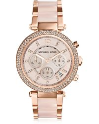Michael Kors - Parker Rose Gold Tone & Blush Chronograph Watch - Lyst