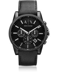 Armani Exchange - Outerbanks Black Leather Men's Watch - Lyst