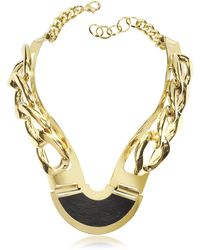 Pluma - Gold Plated Brass And Black Leather Collar Chain Necklace - Lyst