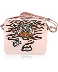 KENZO - Faded Pink Leather Geo Tiger Camera Bag W/tiger Embroidery - Lyst
