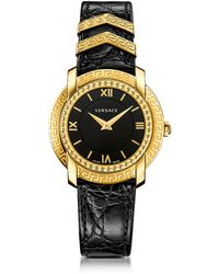 Versace - Dv25 Round Black And Gold Women's Watch W/croco Embossed Band And Metal Inserts - Lyst