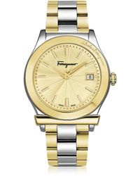 Ferragamo - Ferragamo 1898 Stainless Steel And Gold Ip Women's Bracelet Watch W/sunray Guilloche' Dial - Lyst