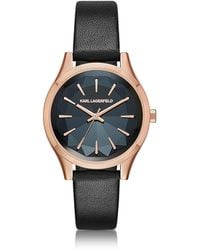 Karl Lagerfeld - Belleville Rose Gold-tone Pvd Stainless Steel Women's Quartz Watch W/black Leather Strap - Lyst