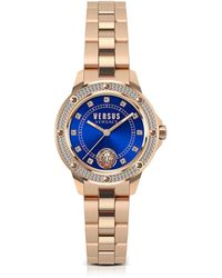 Versus - South Horizons Rose Gold Tone Crystal Stainless Steel Women's Bracelet Watch W/blue Dial - Lyst