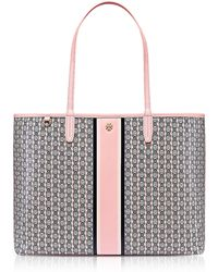 Tory Burch - Pink Gemini Link Stripe Canvas Tote Bag - Lyst
