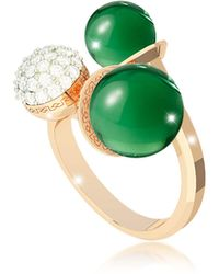 Rebecca Boulevard Stone Yellow Gold Over Bronze Ring W/hydrothermal Green Stones And Cubic Zirconia