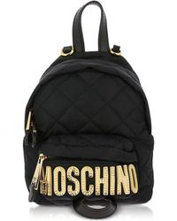 Moschino Black Quilted Nylon Signature Mini Backpack W/gold Studs