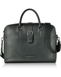 The Bridge - Black Leather Double Handle Briefcase W/detachable Shoulder Strap - Lyst