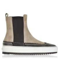 Rodo - Taupe Suede And Black Leather High Top Sneakers W/studs - Lyst