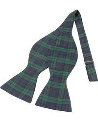FORZIERI - Green & Blue Plaid Printed Silk Self-tie Bowtie - Lyst