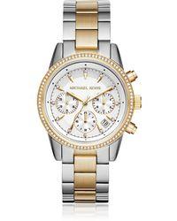 Michael Kors - Ritz Gold And Silver Tone Women's Watch - Lyst