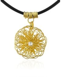 Orlando Orlandini - Central Diamond 18k Yellow Gold Pendant Necklace - Lyst