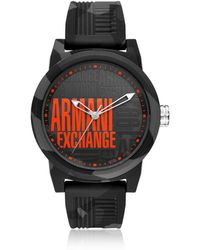 bf315a2faea Armani Exchange Atlc Black Silicone Men s Watch in Black for Men - Lyst