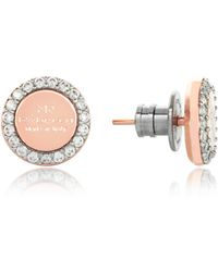 Rebecca - Boulevard Stone Rose Gold Over Bronze Stud Earrings W/stones - Lyst