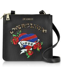 Love Moschino - Black Love Embroidered Shoulder Bag - Lyst