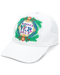 Versace - White Cotton Unisex Baseball Cap W/beverly Palm Embroidery - Lyst