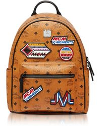 MCM - Small Cognac Victory Patch Visetos Stark Backpack - Lyst