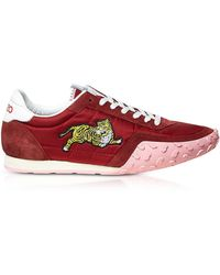 KENZO - Medium Red Nylon And Suede Move Women's Sneakers - Lyst