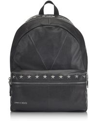 Jimmy Choo - Reed Bls Biker Black Leather Backpack W/studded Stars - Lyst