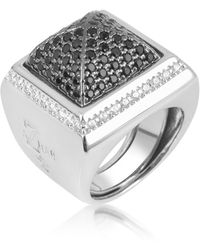 Azhar - Black Cubic Zirconia Square Ring - Lyst