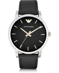 Emporio Armani - Signature Dial Men's Leather Strap Watch - Lyst