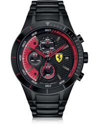 Ferrari - Red Rev Evo Black Stainless Steel Men's Chrono Watch - Lyst
