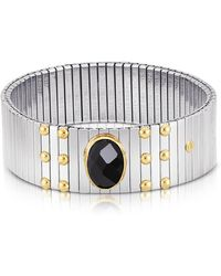 Nomination - Single Black Cubic Zirconia Stainless Steel W/golden Studs Women's Bracelet - Lyst