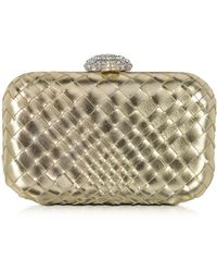 FORZIERI - Woven Leather Clutch W/crystals Closure - Lyst
