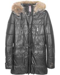 FORZIERI - Black Leather Montgomery Coat - Lyst